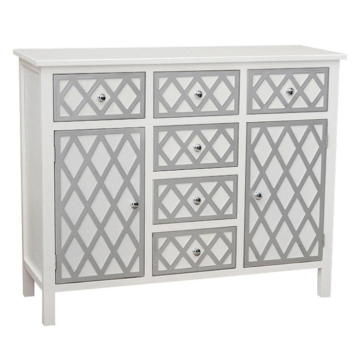 Decor Trellis White Accent Cabinet