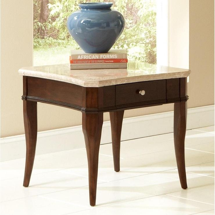 Beautiful Madaleine Marble Top Brown End Table View Full Size