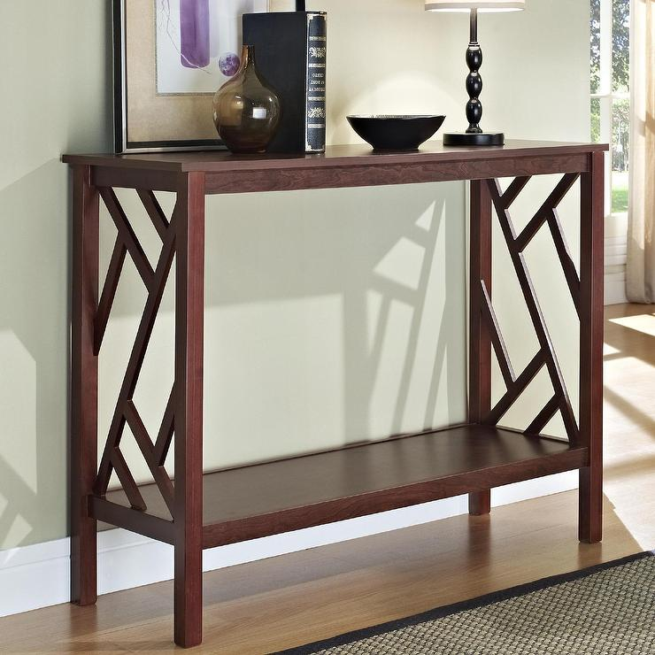 Espresso abstract design brown console sofa table watchthetrailerfo