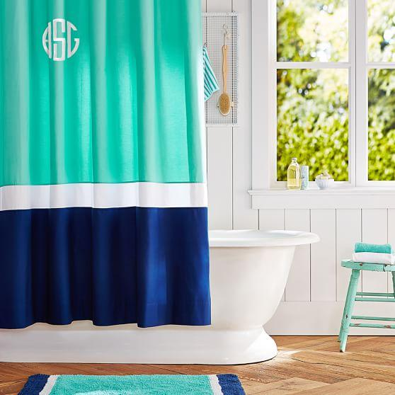 Aqua And White Shower Curtain Nicole Miller Fabric Shower Curtain
