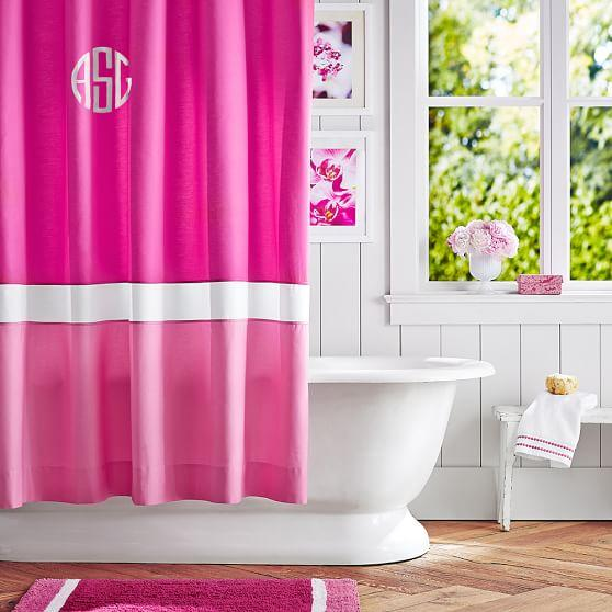 color block pink magenta bright pink shower curtain
