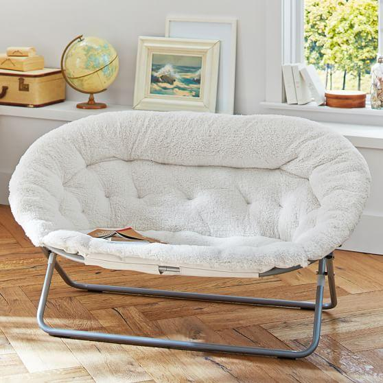 Attractive Ivory Sherpa Double Hang A Round Chair