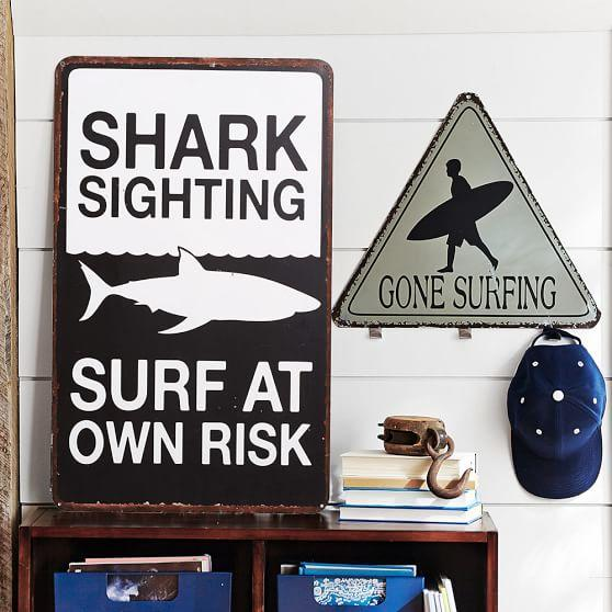Metal Black And White Surf Signs