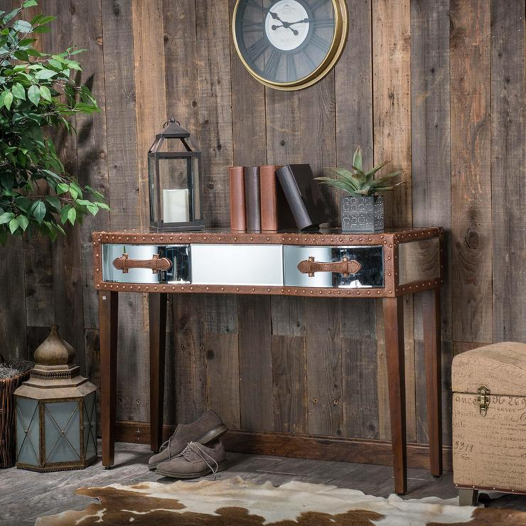Christopher Knight Home Evelyn Mirrored Two Drawer Brown Console Table