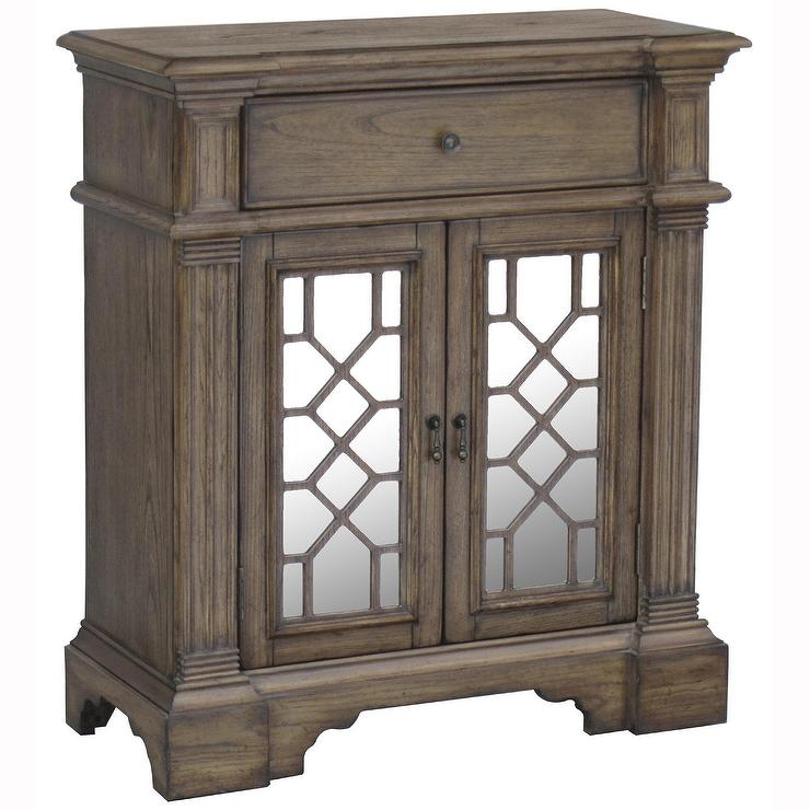 Hand painted distressed washed oak finish mirrored accent for Hand painted chests