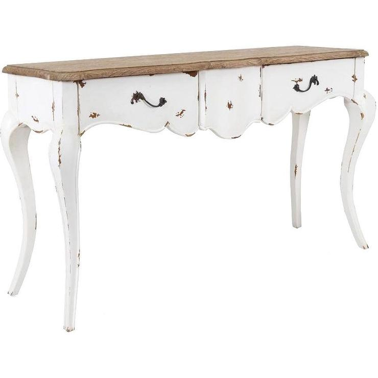 Decorative Franklin Rustic White Rectangle Console Table