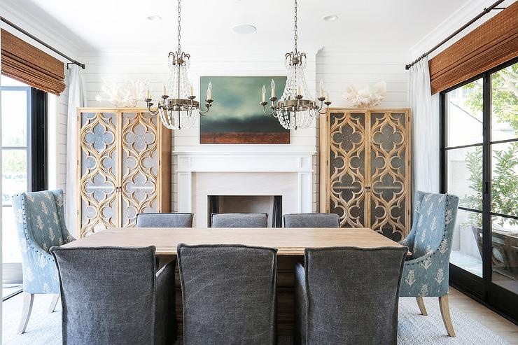 Dining Room Fireplace Between Quatrefoil Cabinets