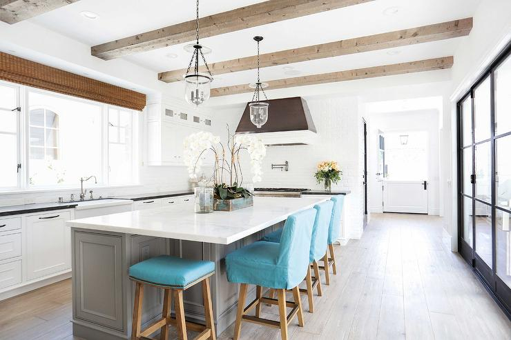 Gray Kitchen Island With Turquoise Blue Counter Stools