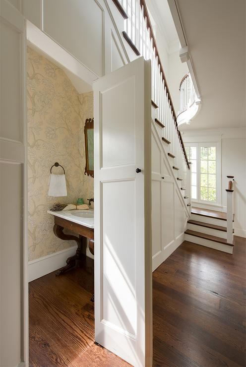 Concealed Powder Room Under The Stairs Transitional Bathroom