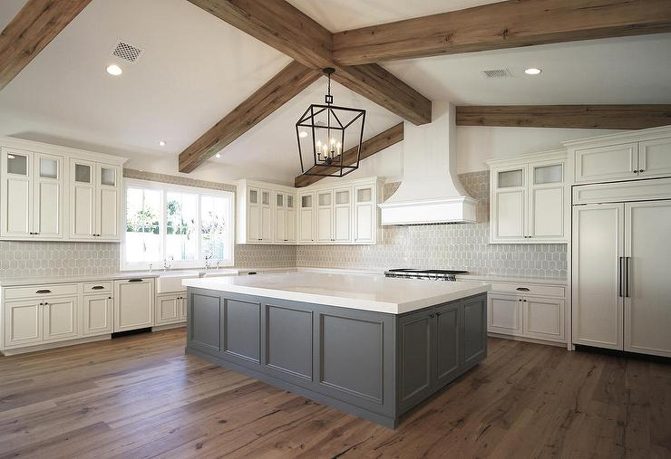 Ivory Cabinets With Grey Island Transitional Kitchen - Grey kitchen cabinets with wood floors
