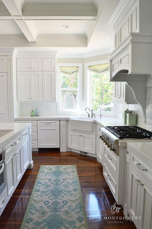 Corner Apron Sink Under Wraparound Windows - Transitional - Kitchen