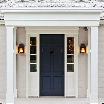 Glossy Black Front Door With Black Sidelights