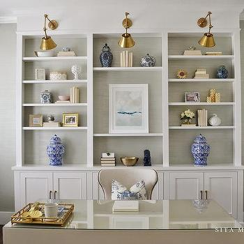 Home Office Built Ins With Grasscloth On Back Of Shelves
