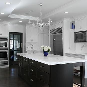 White kitchen cabinets with espresso island transitional for Kitchen designs with espresso cabinets