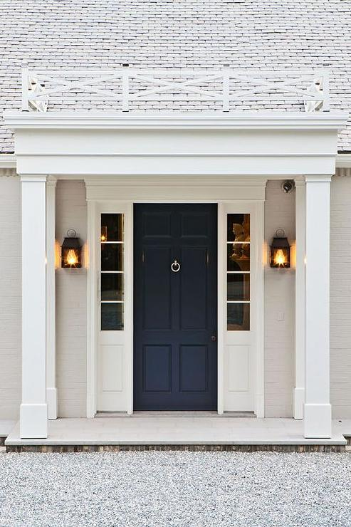 black front door with sidelightsNavy Front Door  Transitional  Home Exterior