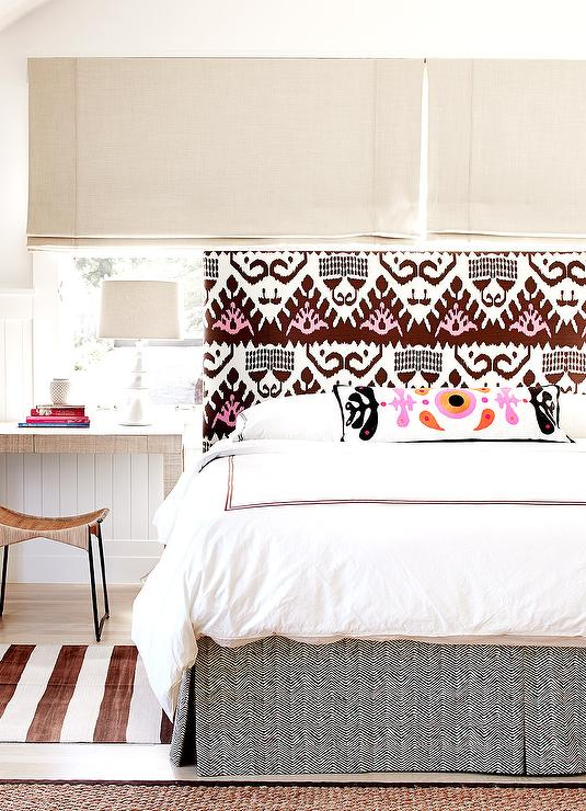 Pink and Brown Ikat Fabric Headboard - Contemporary - Bedroom