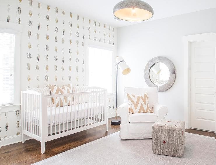 White And Tan Gender Neutral Nursery Transitional Nursery