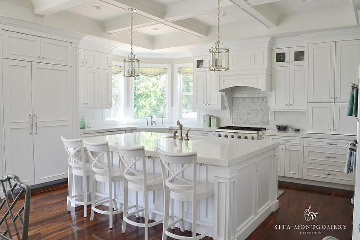 White X Back Island Stools Transitional Kitchen