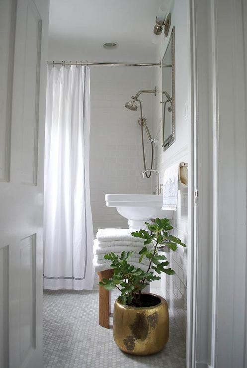 Absolutely Beautiful Bathroom Boasts Upper Walls Painted White And Lower Clad In Subway Tiles Lined With A Pedestal Ink Inset Framed