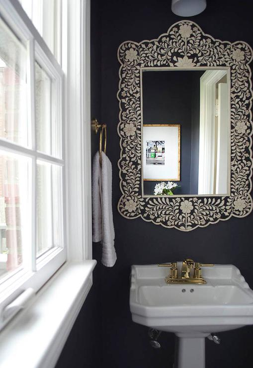 black and white powder room with black bone inlay mirror. Black Bedroom Furniture Sets. Home Design Ideas