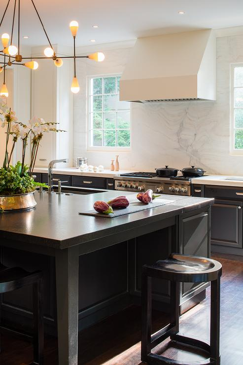 Black Kitchen Island with Black Countertops