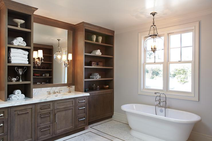 Brown bathroom vanity with brown wood framed mirror - White wood framed bathroom mirrors ...