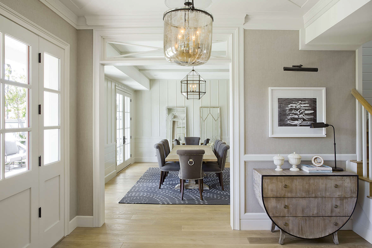 Gray Grasscloth Wainscoted Walls Transitional Entrance