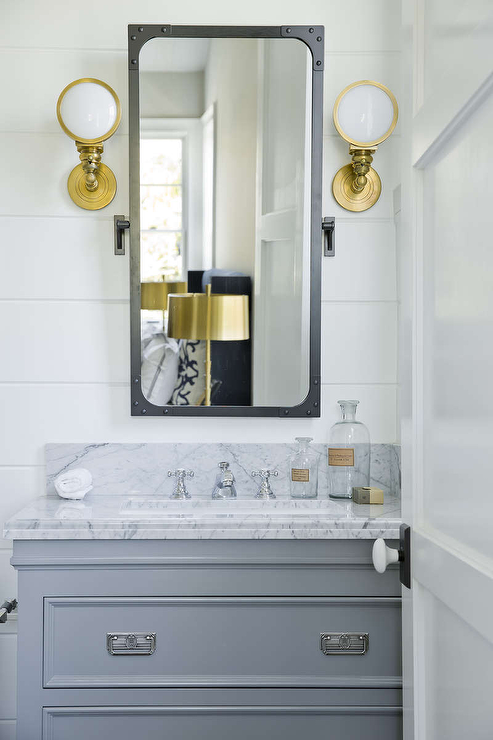 Gray and gold bathroom design transitional bathroom for Gold bathroom wall lights