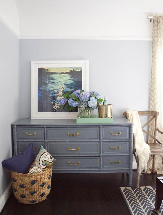 Charmant Grey Bamboo Dresser With Gold Pulls