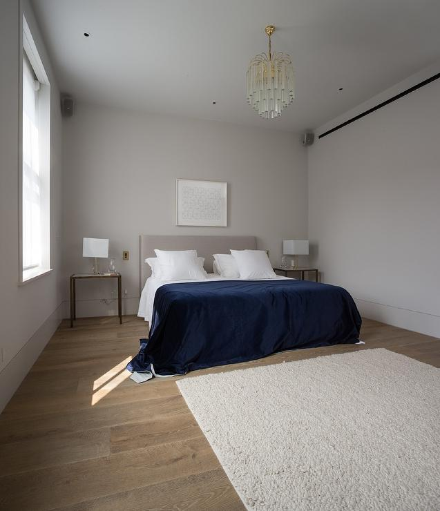 Gray headboard with blue bedding transitional bedroom for Cobalt blue bedroom ideas