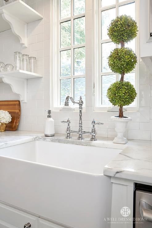 Farmhouse Sink And Deck Mount Faucet Transitional Kitchen