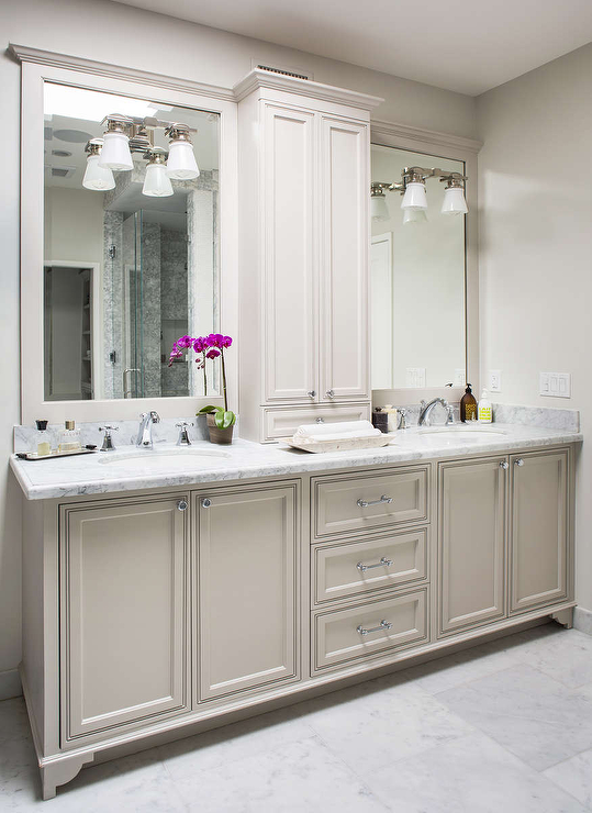 Light gray bath vanity cabinets transitional bathroom - Images of bathroom vanity lighting ...