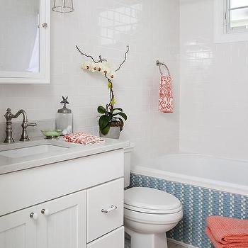 White bathroom with orange accents transitional bathroom for Blue and orange bathroom