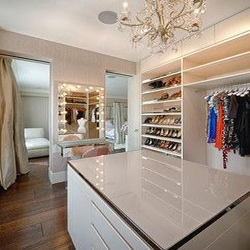 Charming Walk In Closet With Mirrored Makeup Vanity