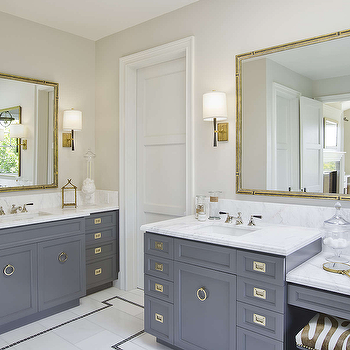 Grey Bathroom Vanity With Gold Knobs Transitional Bathroom