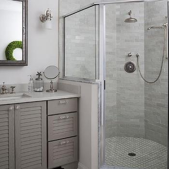 White Louvered Bath Vanity Design Ideas - Louvered door bathroom vanity