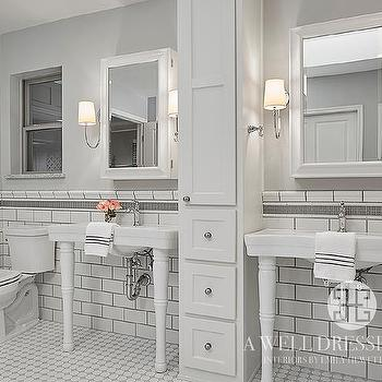 White Subway Tiles with Gray Glass Border Trim Tiles. Black and White Bathroom Floor Tiles   Transitional   Bathroom