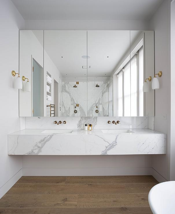 Marble Floor Sinks : Marble floating vanity sink modern bathroom