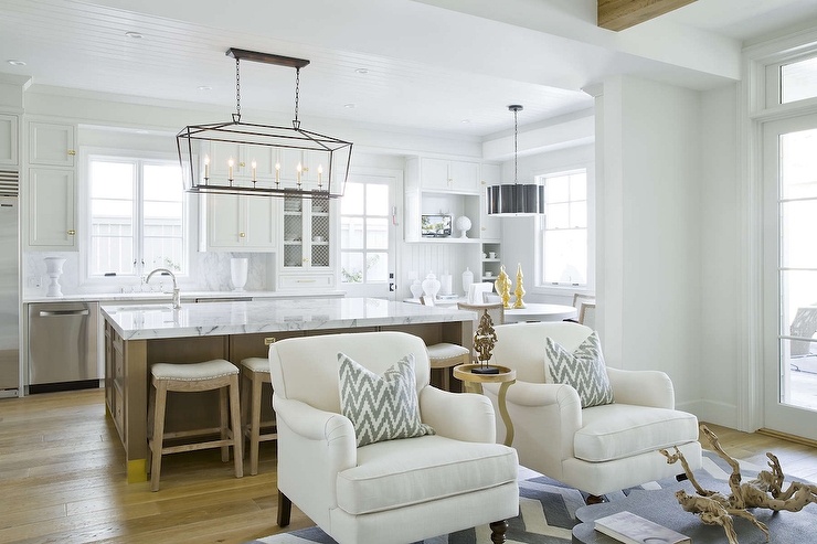 Kitchen Accent Furniture | White Accent Chairs With Grey Ikat Pillows Transitional Kitchen