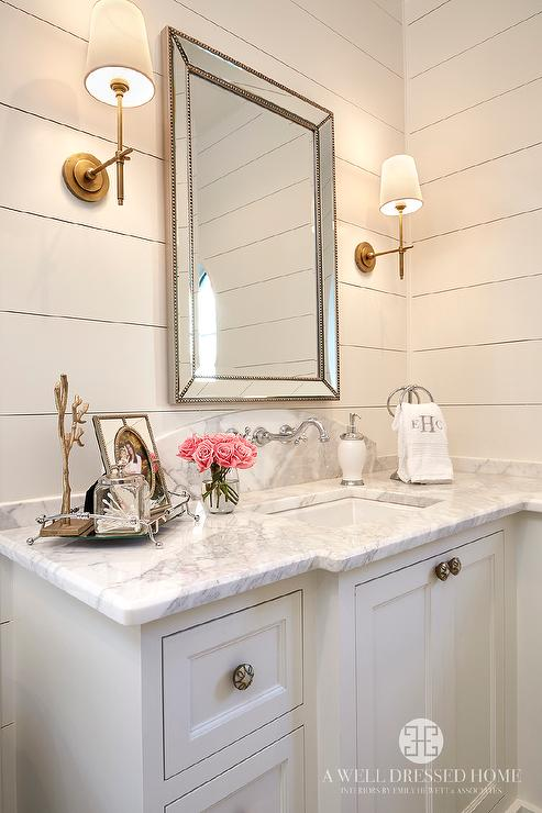 Bathroom With Restoration Hardware Venetian Beaded Mirror