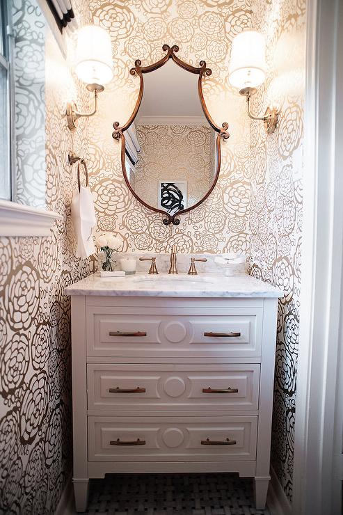 Tiny Powder Room Wallpaper Transitional Bathroom