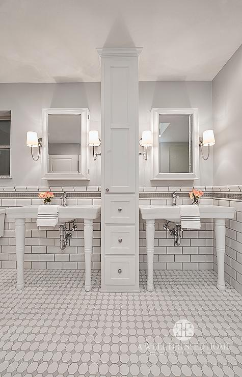 White And Grey Bathroom Tiles