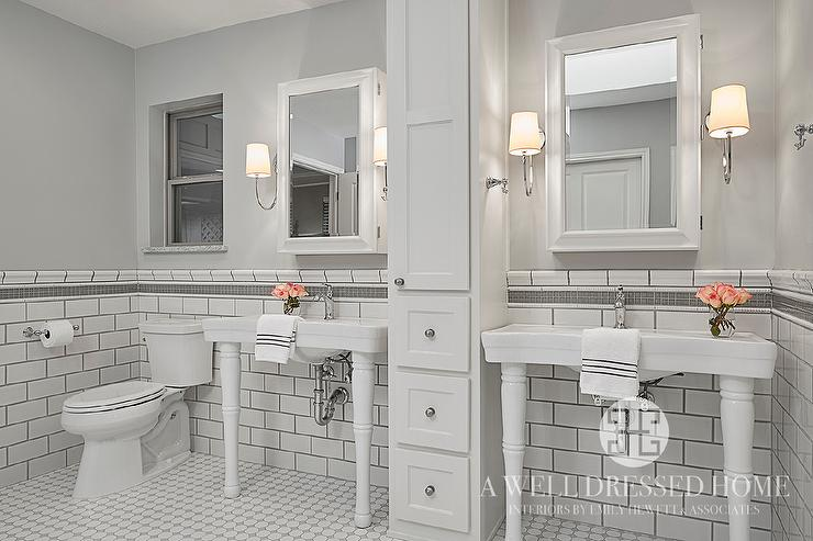 White Subway Tiles With Gray Glass Border Trim Tiles