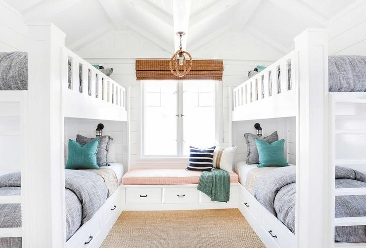 Window Seat Between Built In Bunk Beds Cottage Closet