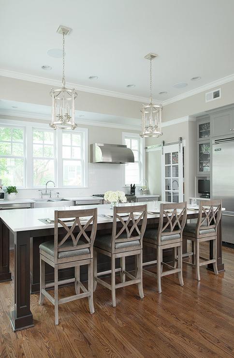 kitchen island round island lanterns gray wash counter stools jpg
