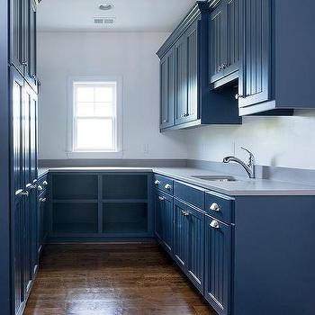 Modern blue butler pantry cabinets with blue dot for Black beadboard kitchen cabinets
