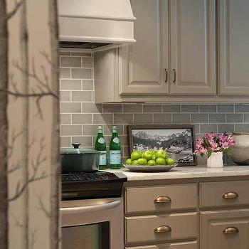 Genial Taupe Kitchen Cabinets With Brass Cup Pulls
