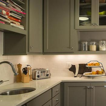 Grey Shaker Cabinets With White Subway Tiles