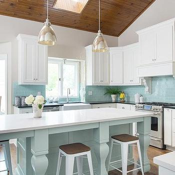 Mercury glass light bulb pendants design ideas for Tiffany blue kitchen ideas