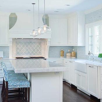 turquoise arabesque tile backsplash